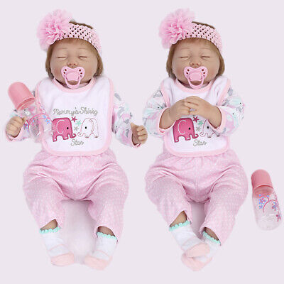 "2pcs Identical Twins Reborn Baby Dolls 22"" Lifelike Newborn Vinyl Girl Doll Gift"
