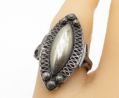925 Sterling Silver - Vintage Ball Bead Swirl Detail Cocktail Ring Sz 6 - R11017
