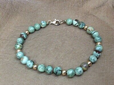 Vintage Fine Estate 14K Gold Filled & Green Ocean Jasper Ball Bead Bracelet