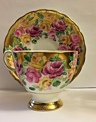 Vintage Tuscan Fine Bone China * Roses And  Gold Gilt Footed Tea Cup & Saucer