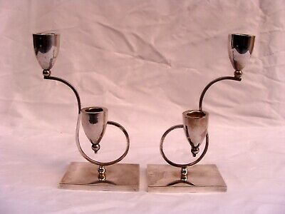 Magnificent Pair Of Art Deco Sterling Silver Candelabras