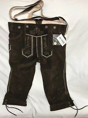 NWT Mens German Brown Leather Lederhosen Size EU 50 US 34 Octoberfest New