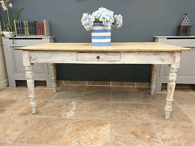 Antique Victorian rustic pine french style farmhouse kitchen / dining table