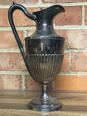 "Antique Silver Plated Pitcher Jug Large 13"" Nice And Solid."
