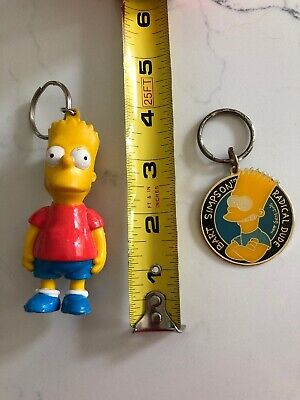 Bart Simpson Key Ring 1990 Vintage Keychain Red Shirt Radical Dude The Simpsons