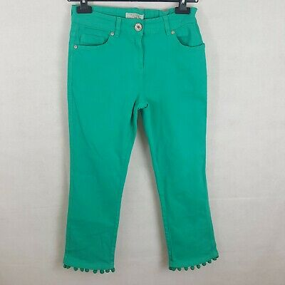 Next Girls Jeans Green 15 Yrs Cotton Cropped Flare Adjustable Waist Nwt