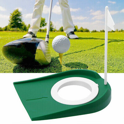 Plastic Golf Putting Mat Practice Putter Trainer Indoor Aid Putt Out Cup US