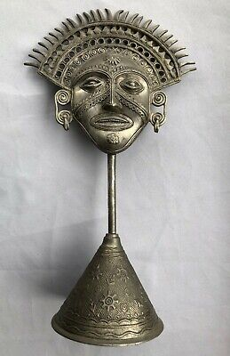Vintage South American Inca Sun God Metal Statue With Adorned Base