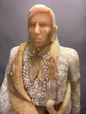 "Superb Quality 14"" Alabaster Stone Carving Native American Indian Chief Signed"