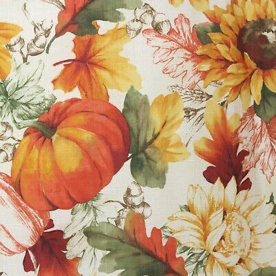 Autumn Leaves Pumpkins Sunflowers Tablecloth 102X60 Rectangle Orange Easy Care