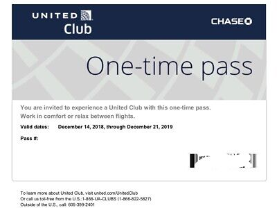 One ( 1 ) UA United Club One-time Pass / E-Pass available (exp 12/21/2019)
