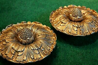 "Extra Large Pair Sheryle Wagner or Guerin HOLLYWOOD Door Knobs 7"" Reclaimed Gold"