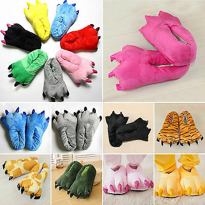 Adults Kids Cartoon Animal Shoes Cosplay Slippers Claw Paw Winter Warm Shoes FA