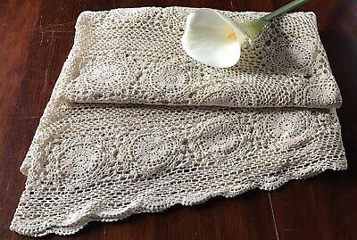 Vintage Hand Crochet Lace Cream Coffee Ecru Tablecloth Oval Scalloped
