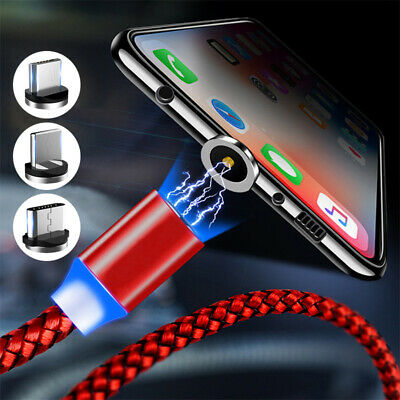 360° Charging Cable Magnetic Quick Charger Micro USB For Sumsung iPhone XS X XR
