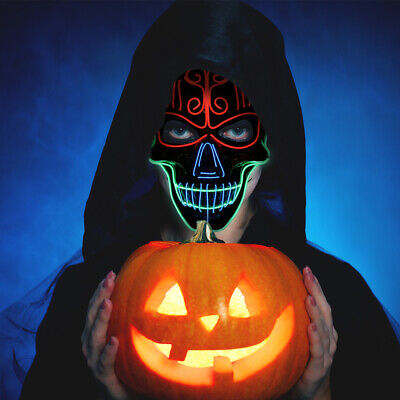 Halloween LED Light Mask Scary Smiling face Rave Purge Festival Cosplay Party