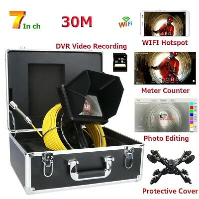 """30M 7"""" DVR WIFI Wireless Handheld Industrial Pipe Sewer Inspection Video Camera"""