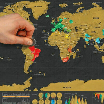 UK Deluxe Large Scratch Off World Map Poster Personalized Travel Gift Wanderlust