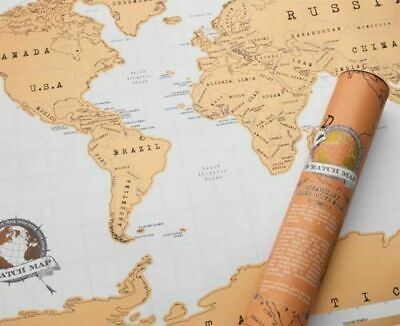 Scratch Off World Map Poster Personalized Travel Vacation Log Gift Large Size UK