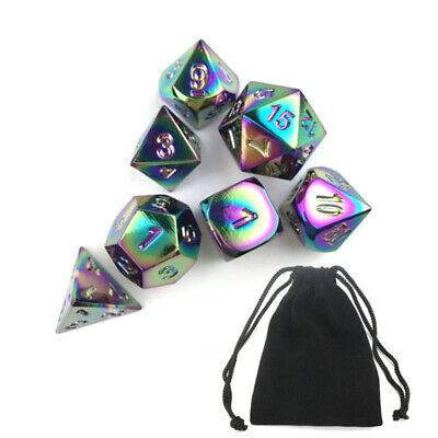 7 Pcs/ Set Rainbow Metal Polyhedral Dice DND RPG MTG Role Playing Game W/Bag