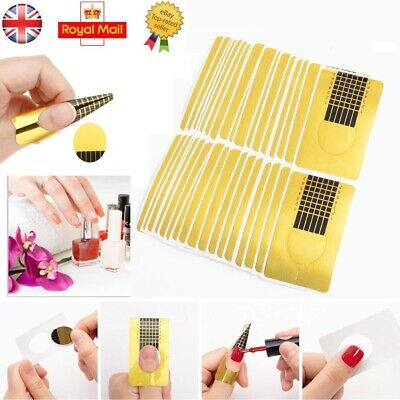 Nail Art Form Stickers Self adhesive Extension UV Builder Tips Gel Forms Gold UK