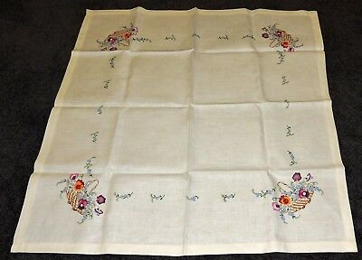 Tablecloth Ecru Painted Pure Linen To Embroider Pink Purple Orange Pansy Baskets