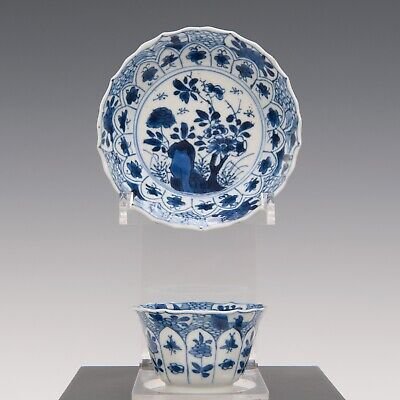 Nice Chine B&W porcelain cup & saucer, Kangxi period,18th ct.