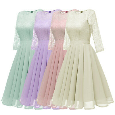 Fashion Women Lace Evening Dress Party Bridesmaid Formal Cocktail Dresses Gown