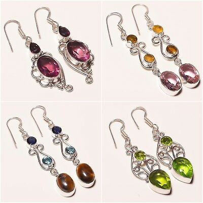 Wholesale Jewelry Lots Amethyst Peridot Citrine Topaz Silver Plated Earring 2""