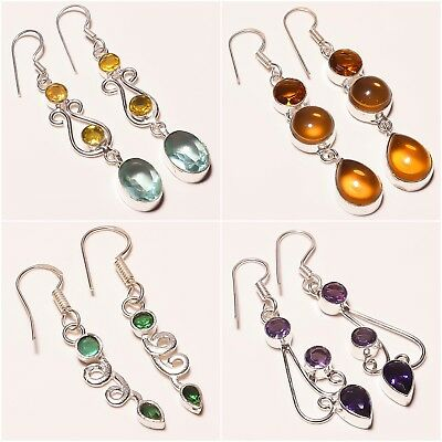Excellent Jewelry  ! Citrine Amethyst Apatite Quartz Silver Plated Earring 2""
