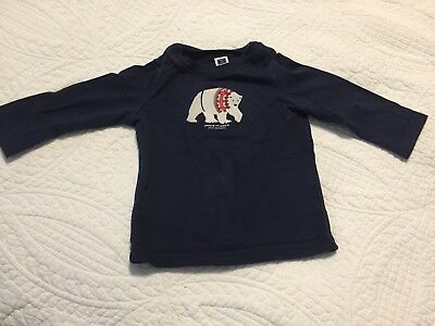 GUC Janie and Jack Blue Polar Bear Shirt Size 6-12 Months