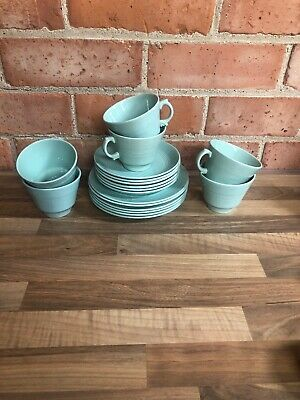Woods Beryl Ware Green Cups, Saucers & Side Plates x6 (18 Items Total)