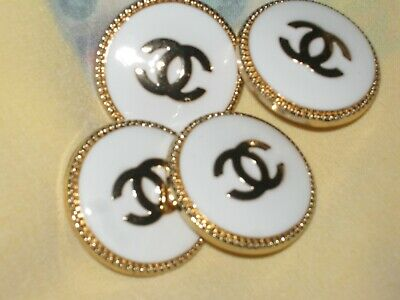 CHANEL BUTTONS lot  4  WHITE  20 mm over 3/4 inch metal gold cc logo
