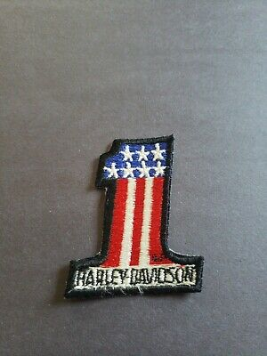 Harley Davidson #1 Red, White & Blue Small Patch for Jacket or vest Heat Iron on