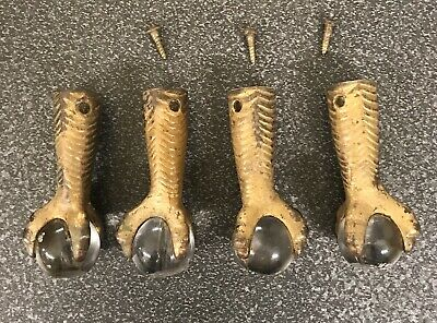 4 Antique Cast Iron and Glass Ball Claw Feet From Piano/organ Stool