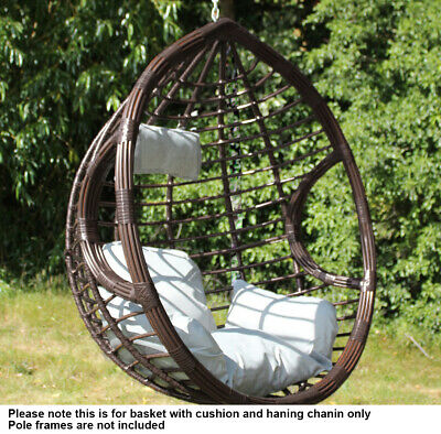 Brown PE Rattan Swing Hanging Egg Chair Basket with Cushion Patio Garden Chair