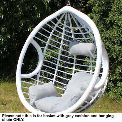 White PE Rattan Swing Hanging Egg Chair Basket with Cushion Patio Garden Chair