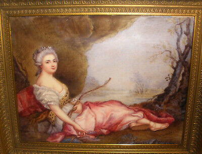 Antique 1800s after Jean Marc Nattier 18thc French artist Miniature painting