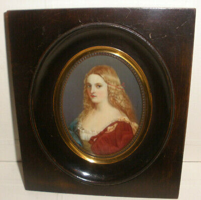 Antique 1800`s American school beautiful young woman miniature portrait painting