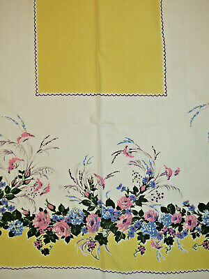 "50s VTG TABLECLOTH Cottage Floral Bright Yellow Blue Purple Pink 52X62"" Excellen"