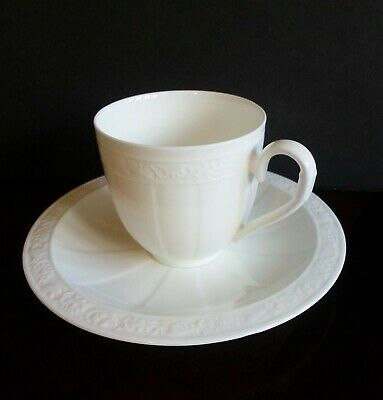 VILLEROY & BOCH Cameo Weiss (White) Bone China Cup & Saucer Set V&B