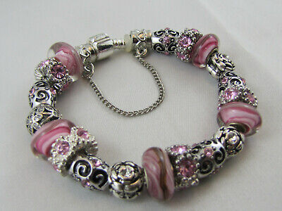 """925 SILVER STAMPED 20cm EUROPEAN STYLE CHARM BRACELET  """" PINK GIFT """"  (#1723)"""