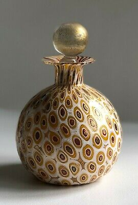 Handblown gold/multi colored dappled design perfume bottle with stopper