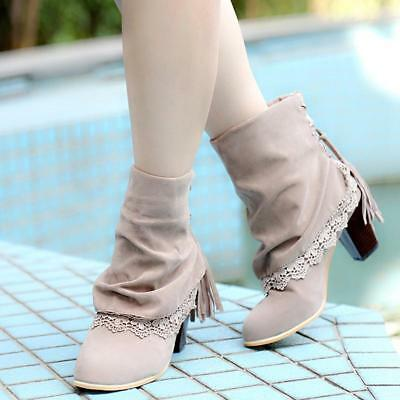 New Women Mid Boots Tassel High Chunky Heels Cowboy Western Shoes Faux Suede JJ