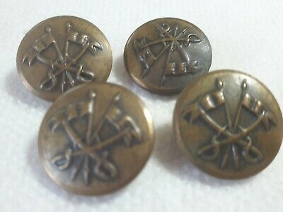 4 Vintage Military Crossed Swords + Flags Metal Shank Buttons Brass Uniform