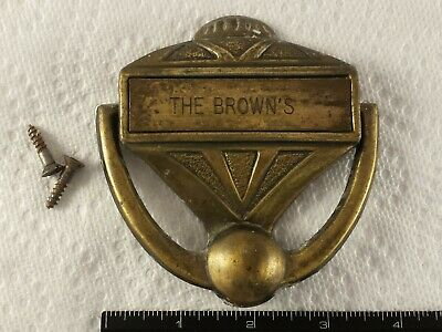 Vintage Brass Door Knocker Chad Mfg Personalized The Brown's Retro 1950's