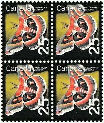 Canada 2238 Beneficial Insects Cecropia Moth 25c block (4 stamps) MNH 2007