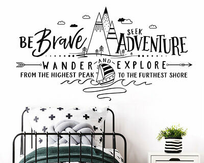 Wall Stickers custom baby be brave adventure hill vinyl decal decor Nursery kids