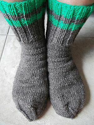 Hand knitted 100% wool socks, heather brown, men's or women's