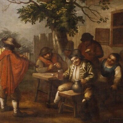 Painting Painting Antique Dutch Oil on Canvas Scene Popular Characters 700